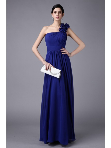 Sheath/Column Pleats Chiffon Sleeveless Floor-Length One-Shoulder Bridesmaid Dresses