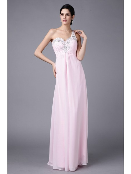 Sheath/Column Beading Applique Chiffon Sleeveless Floor-Length One-Shoulder Dresses
