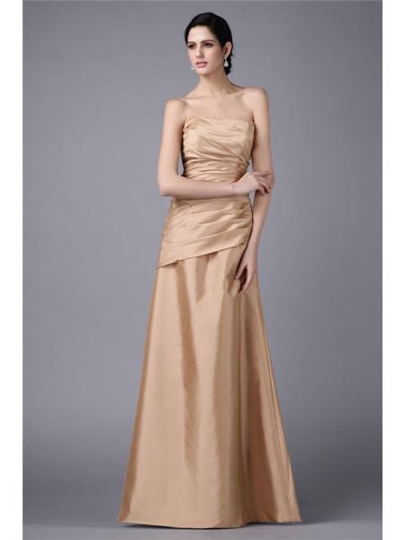 Sheath/Column Pleats Taffeta Sleeveless Floor-Length Strapless Dresses