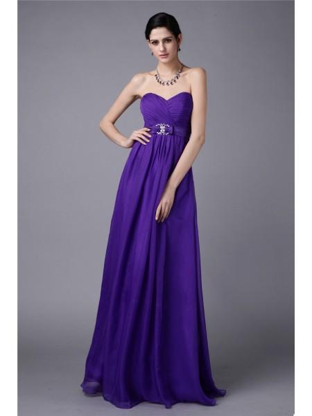 A-Line/Princess Pleats Beading Chiffon Sleeveless Floor-Length Sweetheart Bridesmaid Dresses