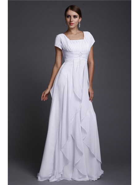 A-Line/Princess Ruffles Chiffon Short Sleeves Floor-Length Square Dresses