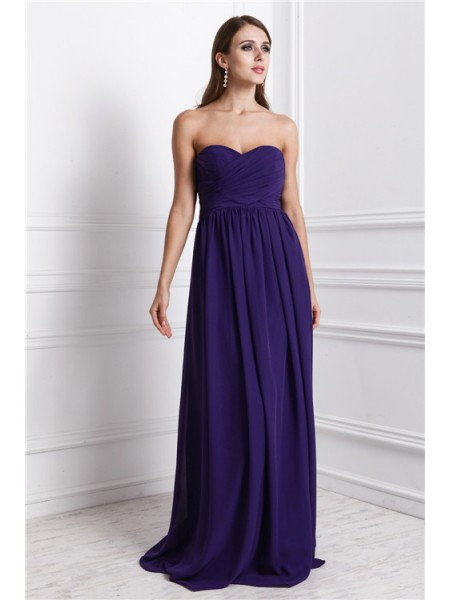 Sheath/Column Ruffles Chiffon Sleeveless Floor-Length Sweetheart Bridesmaid Dresses