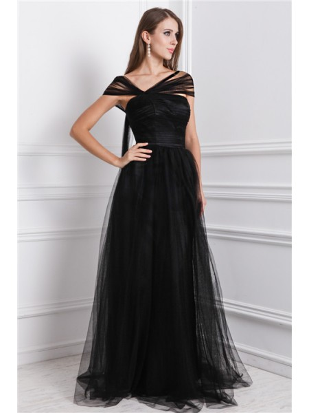 A-Line/Princess Ruffles Net Sleeveless Floor-Length Bateau Dresses