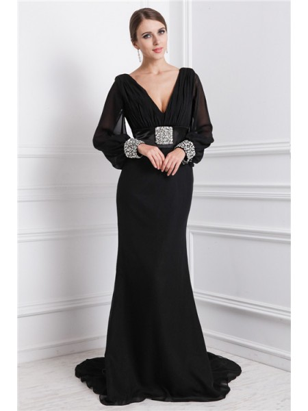 Trumpet/Mermaid Beading Chiffon Long Sleeves Sweep/Brush Train V-neck Dresses