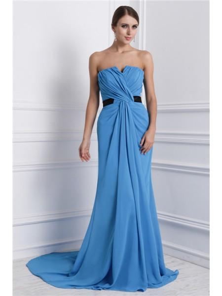 A-Line/Princess Ruffles Chiffon Sleeveless Sweep/Brush Train Strapless Dresses