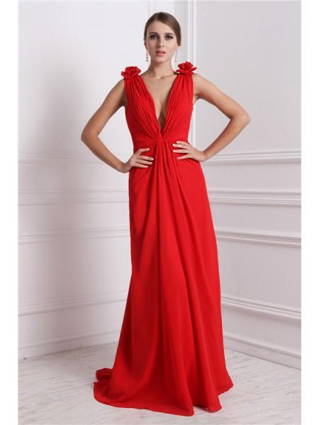 A-Line/Princess Hand-Made Flower Chiffon Sleeveless Floor-Length V-neck Dresses