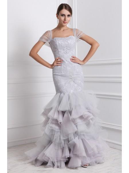 Trumpet/Mermaid Ruffles Organza Short Sleeves Floor-Length Straps Dresses