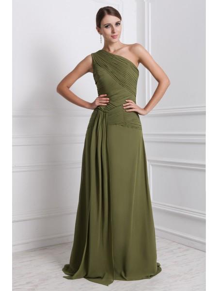 A-Line/Princess Ruffles Chiffon Sleeveless Floor-Length One-Shoulder Dresses