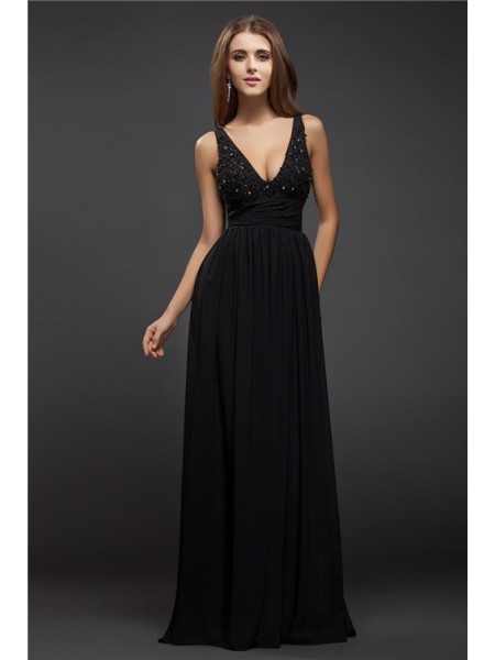 Sheath/Column Beading Lace Chiffon Sleeveless Floor-Length V-neck Dresses