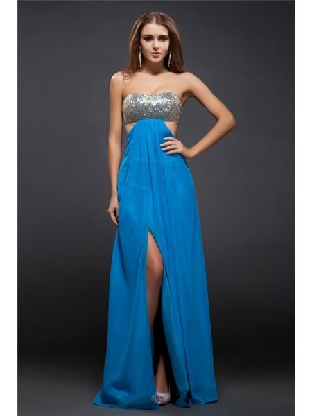 Sheath/Column Lace Sequin Chiffon Sleeveless Floor-Length Strapless Dresses