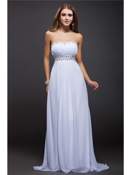 Sheath/Column Beading Chiffon Sleeveless Floor-Length Strapless Dresses
