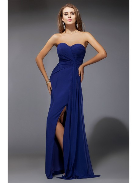 Sheath/Column Ruffles Chiffon Sleeveless Floor-Length Sweetheart Dresses