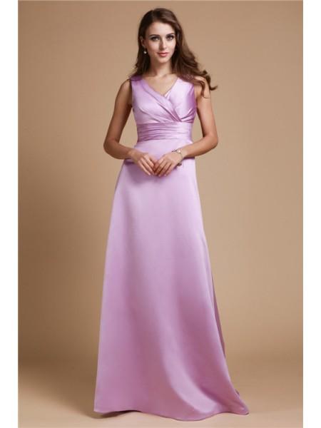 A-Line/Princess Ruched Elastic Woven Satin Sleeveless Floor-Length V-neck Bridesmaid Dresses
