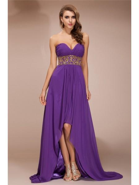 A-Line/Princess Beading Chiffon Sleeveless Asymmetrical Sweetheart Dresses