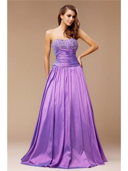 A-Line/Princess Beading Taffeta Sleeveless Floor-Length Strapless Dresses