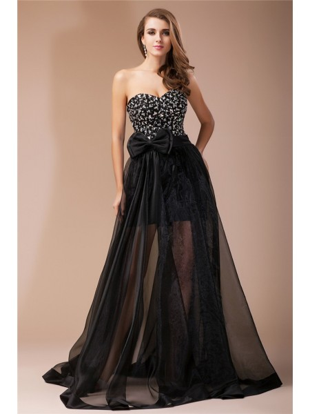 Sheath/Column Beading Elastic Woven Satin Organza Sleeveless Floor-Length Sweetheart Dresses