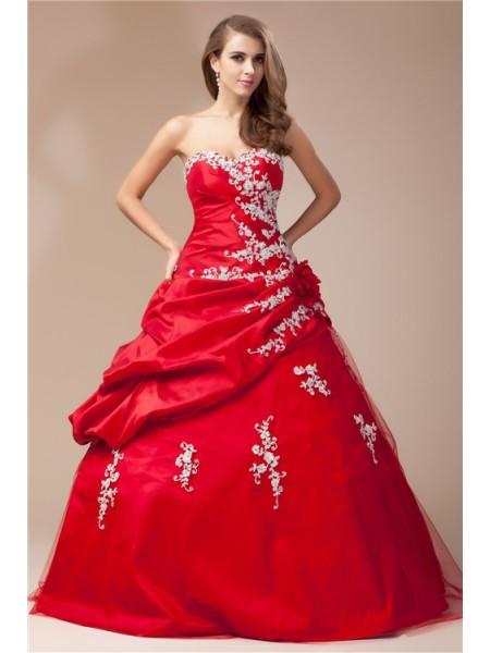 Ball Gown Beading Lace Taffeta Net Sleeveless Floor-Length Sweetheart Dresses