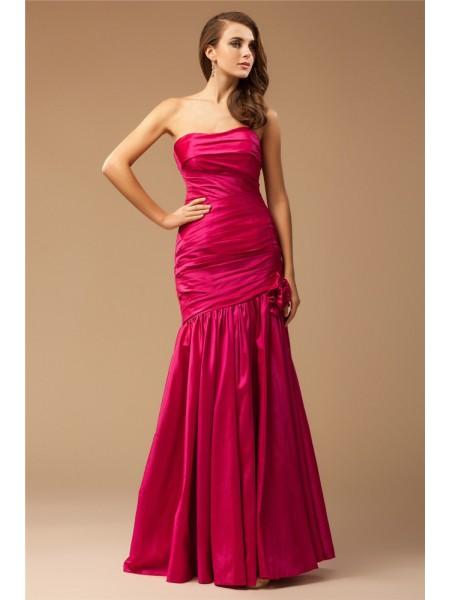 Trumpet/Mermaid Ruffles Taffeta Sleeveless Floor-Length Strapless Dresses