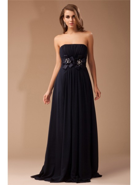 Sheath/Column Ruffles Chiffon Elastic Woven Satin Sleeveless Floor-Length Strapless Dresses