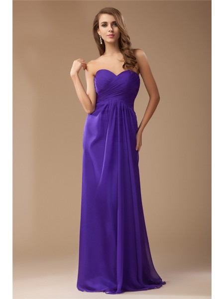 Sheath/Column Ruffles Beading Chiffon Sleeveless Floor-Length Sweetheart Bridesmaid Dresses