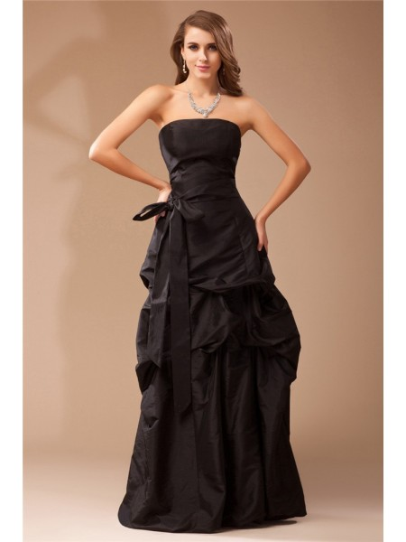 A-Line/Princess Ruffles Taffeta Sleeveless Floor-Length Strapless Dresses