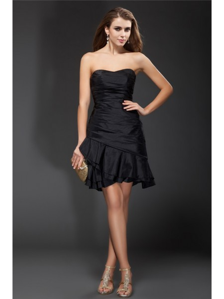 A-Line/Princess Ruffles Taffeta Sleeveless Short/Mini Strapless Short Cocktail Dresses