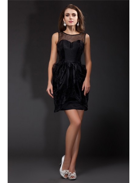 A-Line/Princess Ruffles Organza Sleeveless Short/Mini Scoop Short Cocktail Dresses