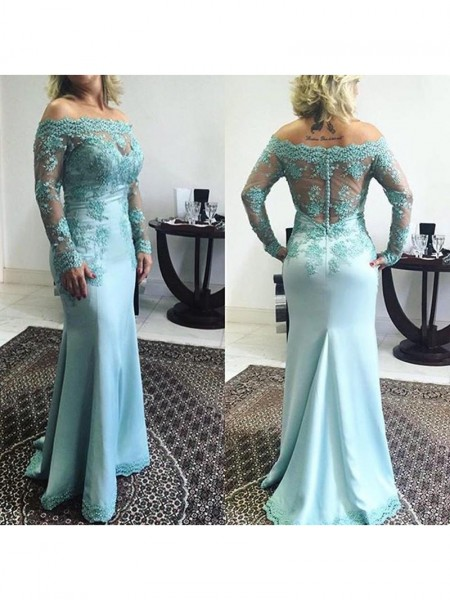 Trumpet/Mermaid Applique Elastic Woven Satin Long Sleeves Sweep/Brush Train Off-the-Shoulder Mother of the Bride Dresses