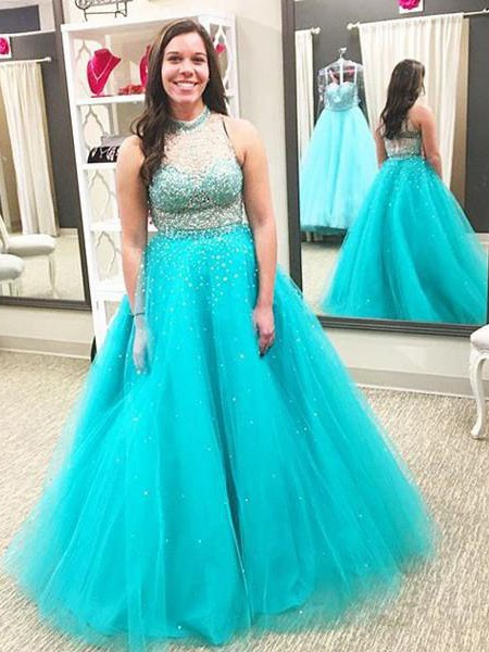 Ball Gown High Neck Beading Floor-Length Tulle Plus Size Dress