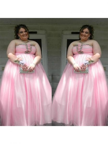 A-Line/Princess Strapless Beading Floor-Length Satin Plus Size Dress