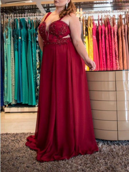 A-Line/Princess Beading Chiffon Sleeveless Sweep/Brush Train Straps Plus Size Dresses