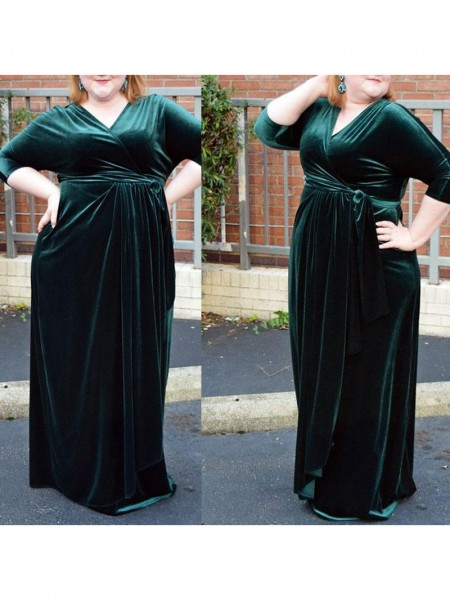 Sheath/Column Ruched Velvet 1/2 Sleeves Floor-Length V-neck Plus Size Dresses