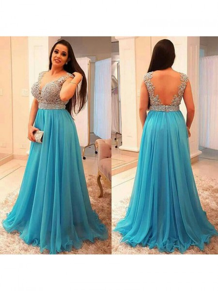 A-Line/Princess Beading Chiffon Sleeveless Floor-Length V-neck Plus Size Dresses