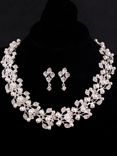 Hot Sale Charming Rhinestone With Pearl Jewelry Set