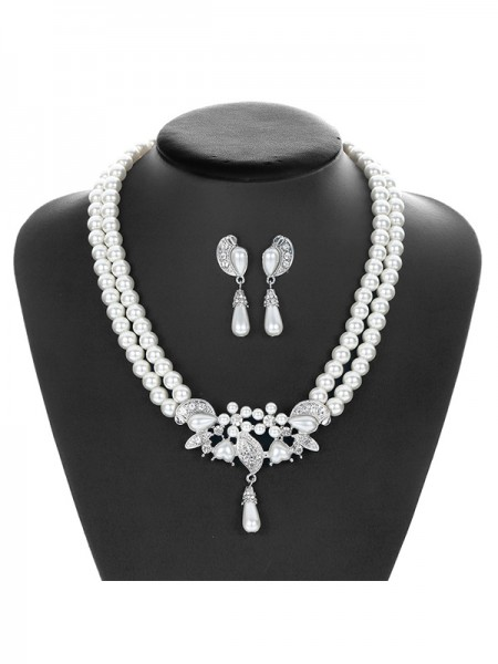 Pretty Alloy With Pearl Jewelry Set For Womens