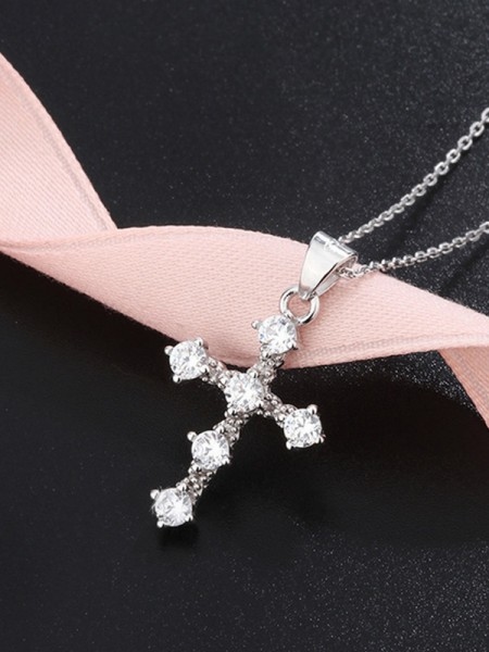 Ladies Classic S925 Silver With Rhinestone Necklaces
