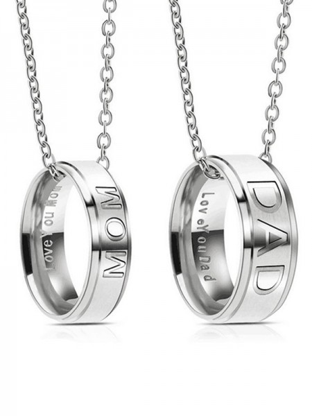 Titanium Hot Sale Simple Necklaces For Mom And Dad