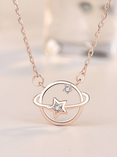 Beautiful Womens S925 Silver With Zircon Necklaces