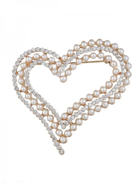 Eternal Love Alloy With Rhinestone/Imitation Pearl Womens Brooch