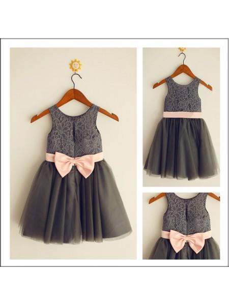 A-Line/Princess Tea-Length Tulle Sleeveless Scoop Bowknot Flower Girl Dresses