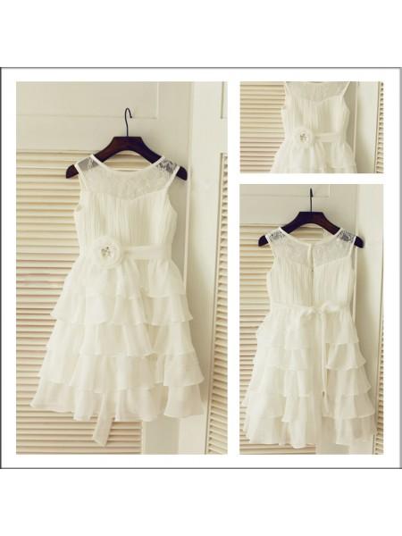 A-Line/Princess Tea-Length Chiffon Sleeveless Scoop Layers Flower Girl Dresses
