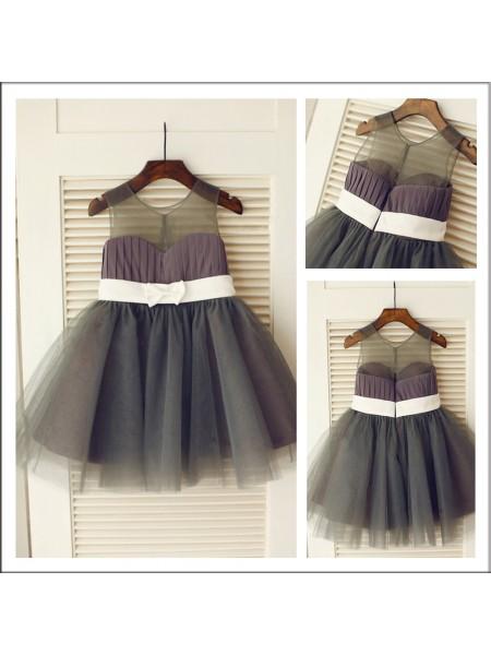 A-Line/Princess Knee-length Tulle Sleeveless Scoop Sash/Ribbon/Belt Flower Girl Dresses