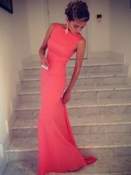 Trumpet/Mermaid Floor-Length Spandex Sleeveless High Neck Dresses