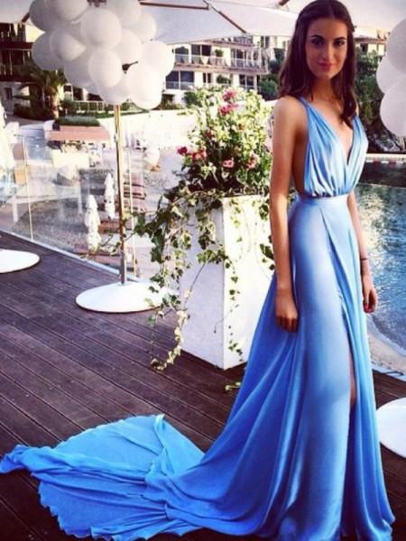 A-Line/Princess Court Train Chiffon Sleeveless Spaghetti Straps Pleats Dresses