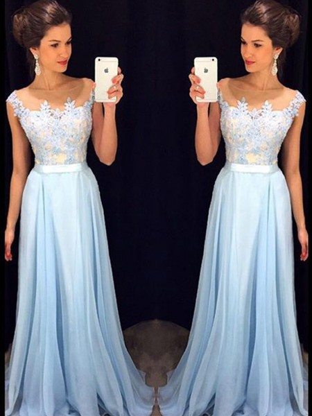 A-Line/Princess Sweep/Brush Train Chiffon Sleeveless Sheer Neck Applique Dresses