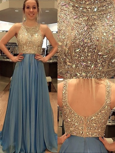 A-Line/Princess Sweep/Brush Train Chiffon Sleeveless Scoop Beading Dresses