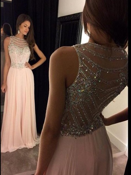 A-Line/Princess Floor-Length Chiffon Sleeveless Scoop Crystal Dresses