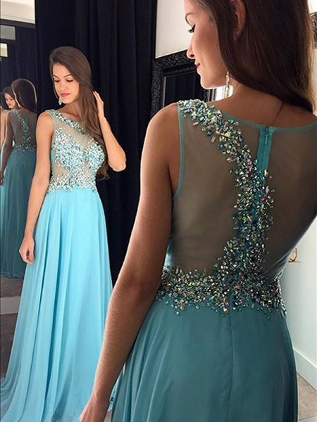 A-Line/Princess Bateau Floor-Length Beading Chiffon Dress