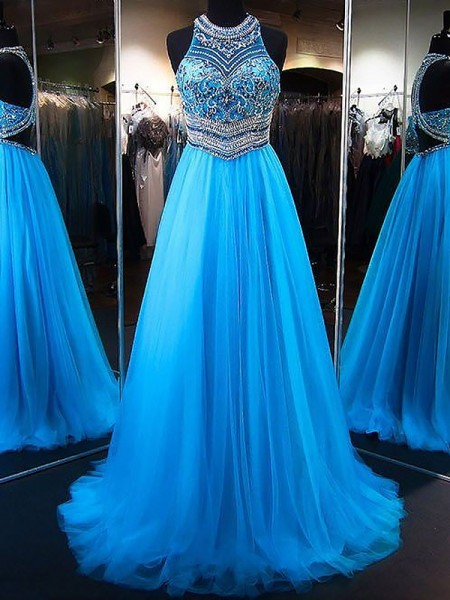 A-Line/Princess Sweep/Brush Train Tulle Sleeveless Jewel Beading Dresses