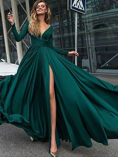A-Line/Princess Floor-Length Satin Chiffon Long Sleeves V-Neck Ruffles Dresses